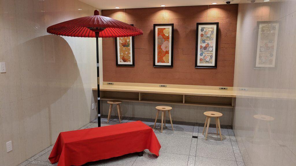 Tiny lobby at Ookini Ryokan Osaka