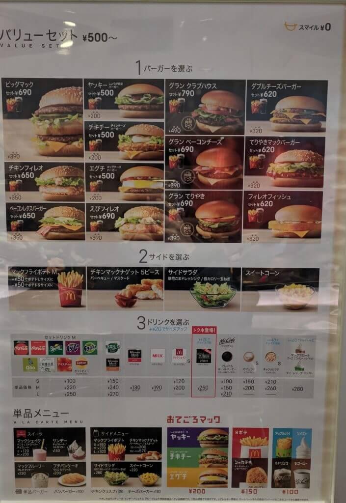 Macdonald's Menu