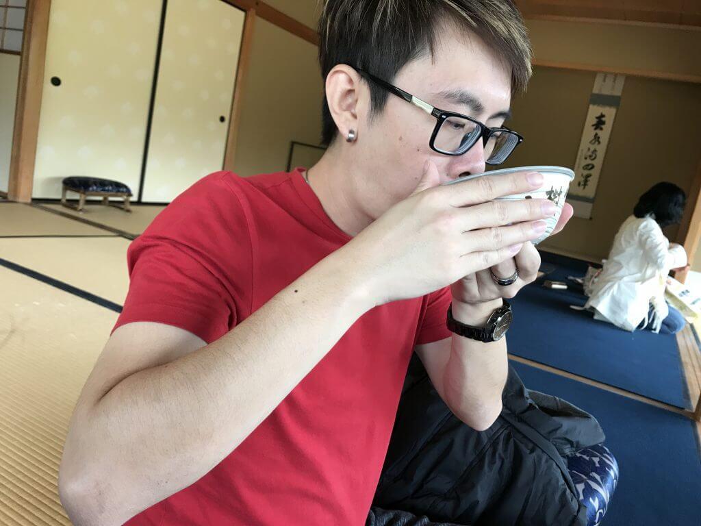 Handsome dude drinking tea