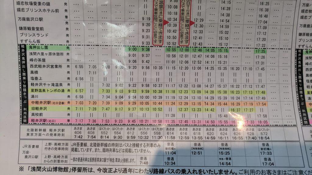 Karuizawa Bus Timetable
