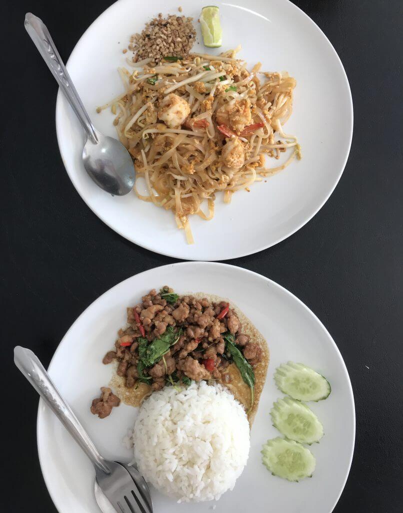 Phad Thai and Basil chicken rice